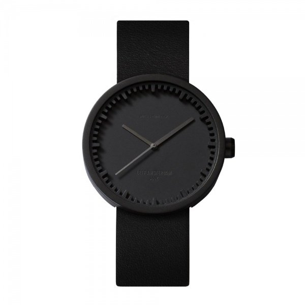 D38 black case black leather strap tube watch leff amsterdam design by piet hein eek front 1