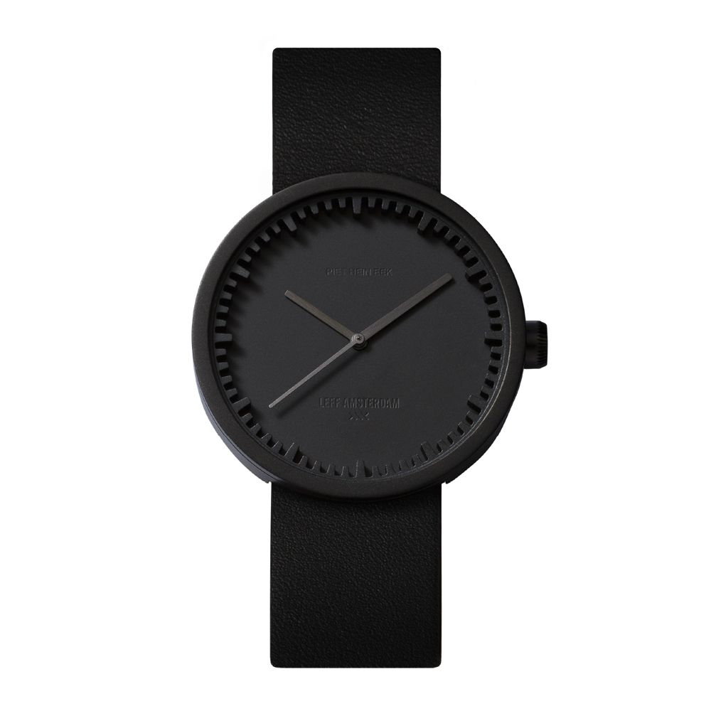 D38 black case black leather strap tube watch leff amsterdam design by piet hein eek front 1