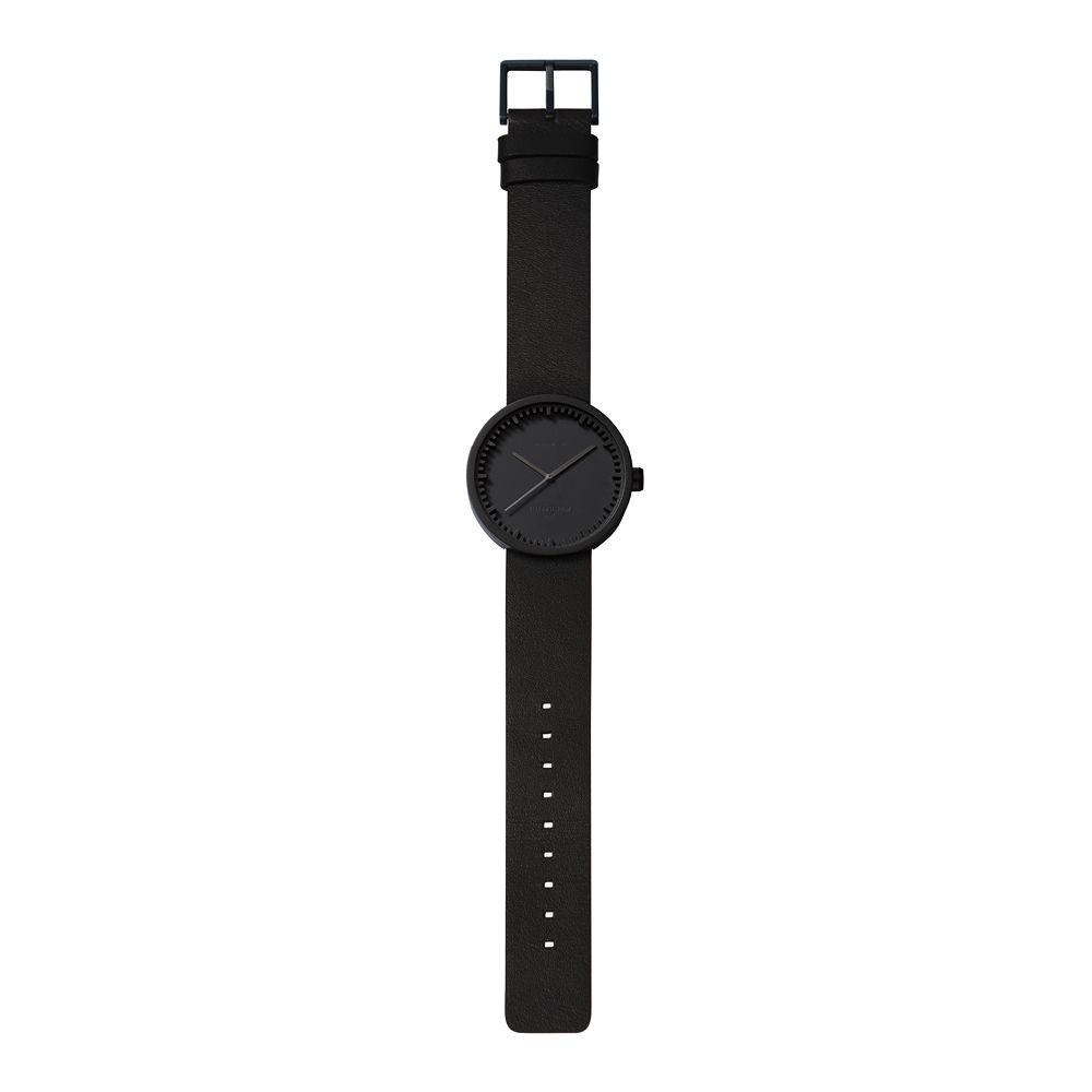 D38 black case black leather strap tube watch leff amsterdam design by piet hein eek total 1