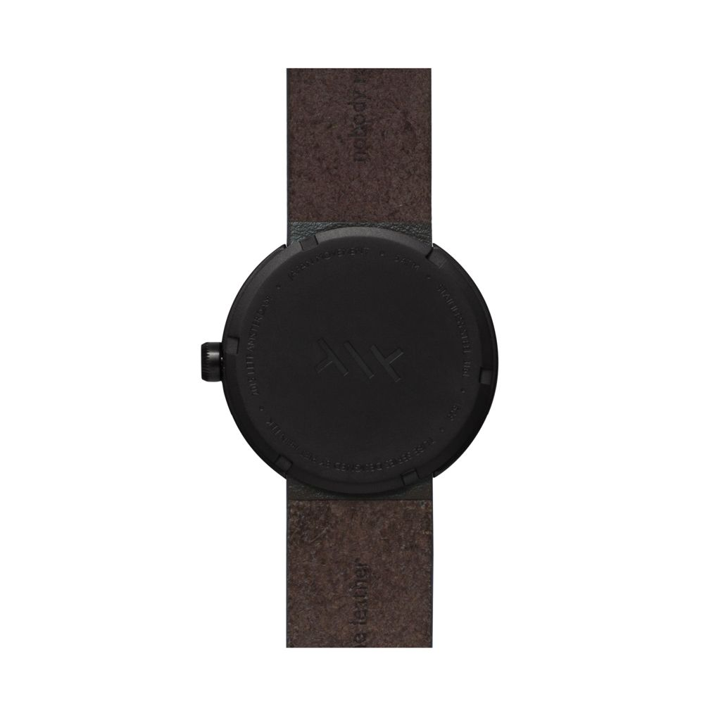D38 black case brown leather strap tube watch leff amsterdam design by piet hein eek back 1