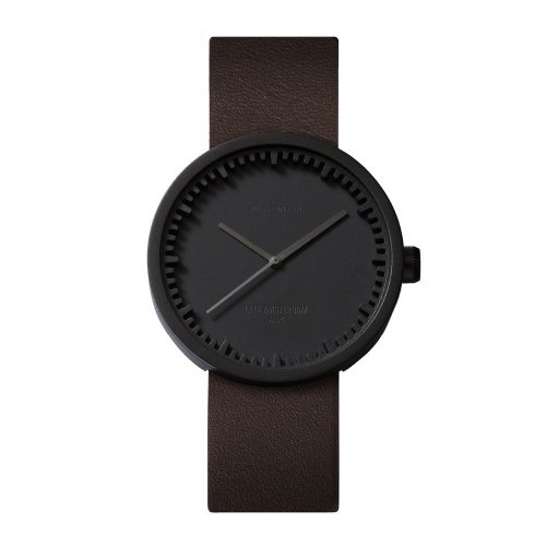 D38 black case brown leather strap tube watch leff amsterdam design by piet hein eek front 1