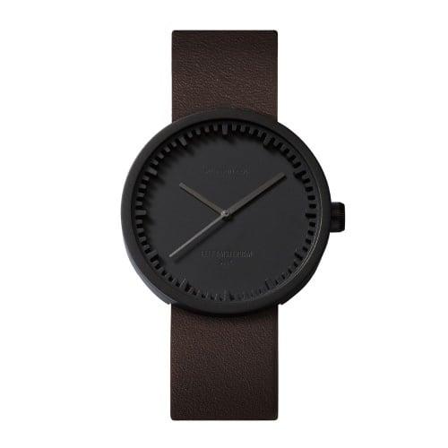 D38 black case brown leather strap tube watch leff amsterdam design by piet hein eek front 1