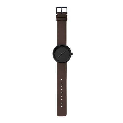 D38 black case brown leather strap tube watch leff amsterdam design by piet hein eek total 1