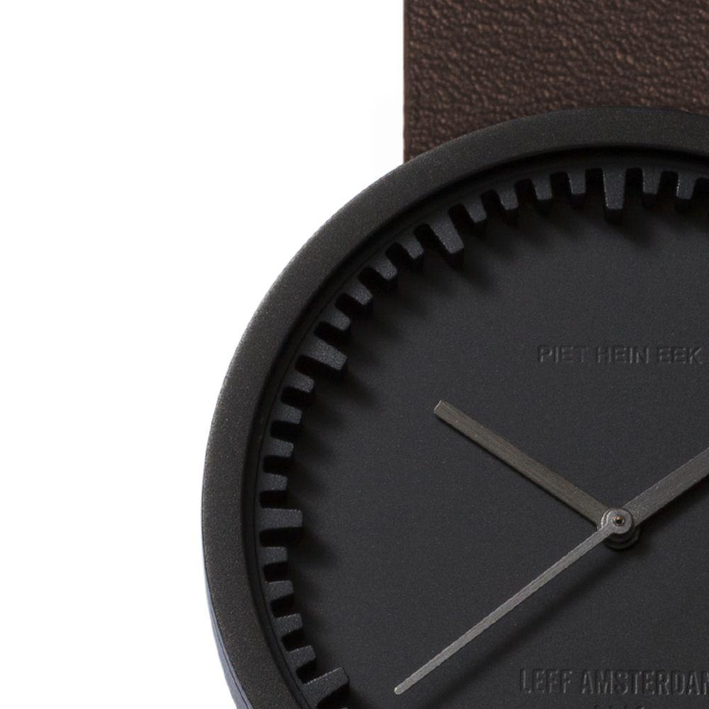 D38 black case brown leather strap tube watch leff amsterdam design by piet hein eek zoom