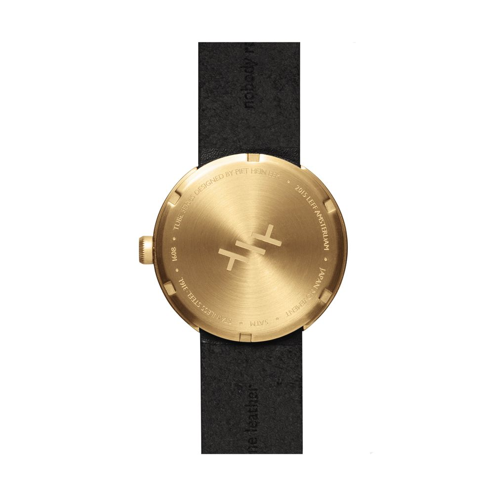 D38 brass case black leather strap tube watch leff amsterdam design by piet hein eek back 1