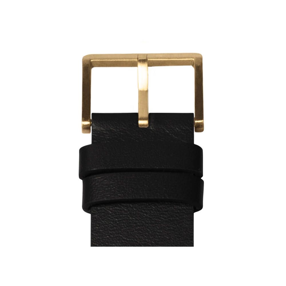 D38 brass case black leather strap tube watch leff amsterdam design by piet hein eek detail 1