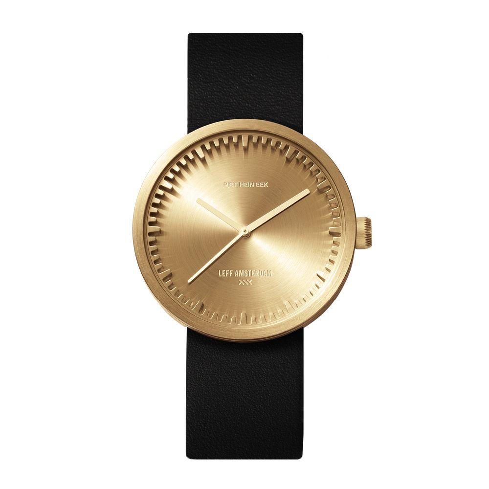 D38 brass case black leather strap tube watch leff amsterdam design by piet hein eek front 1
