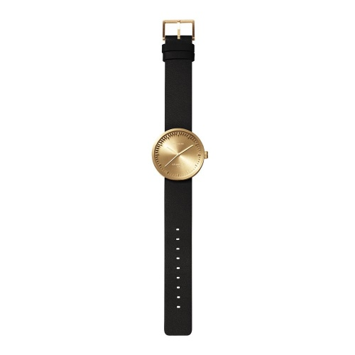 D38 brass case black leather strap tube watch leff amsterdam design by piet hein eek total 1
