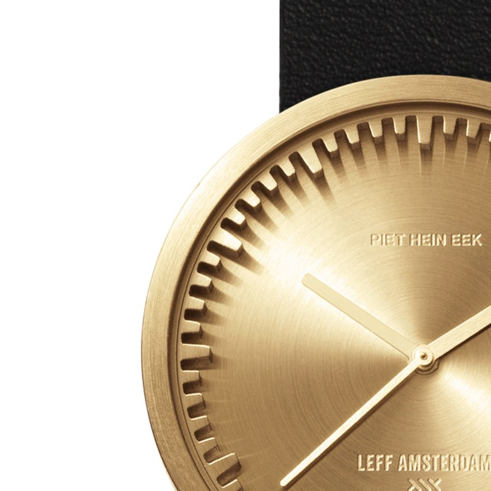 D38 brass case black leather strap tube watch leff amsterdam design by piet hein eek zoom