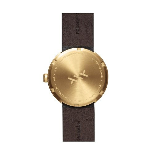 D38 brass case brown leather strap tube watch leff amsterdam design by piet hein eek back 1