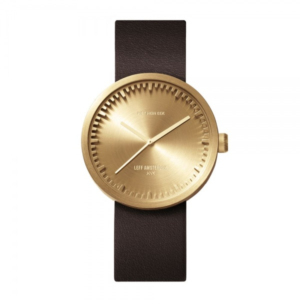 D38 brass case brown leather strap tube watch leff amsterdam design by piet hein eek front 1