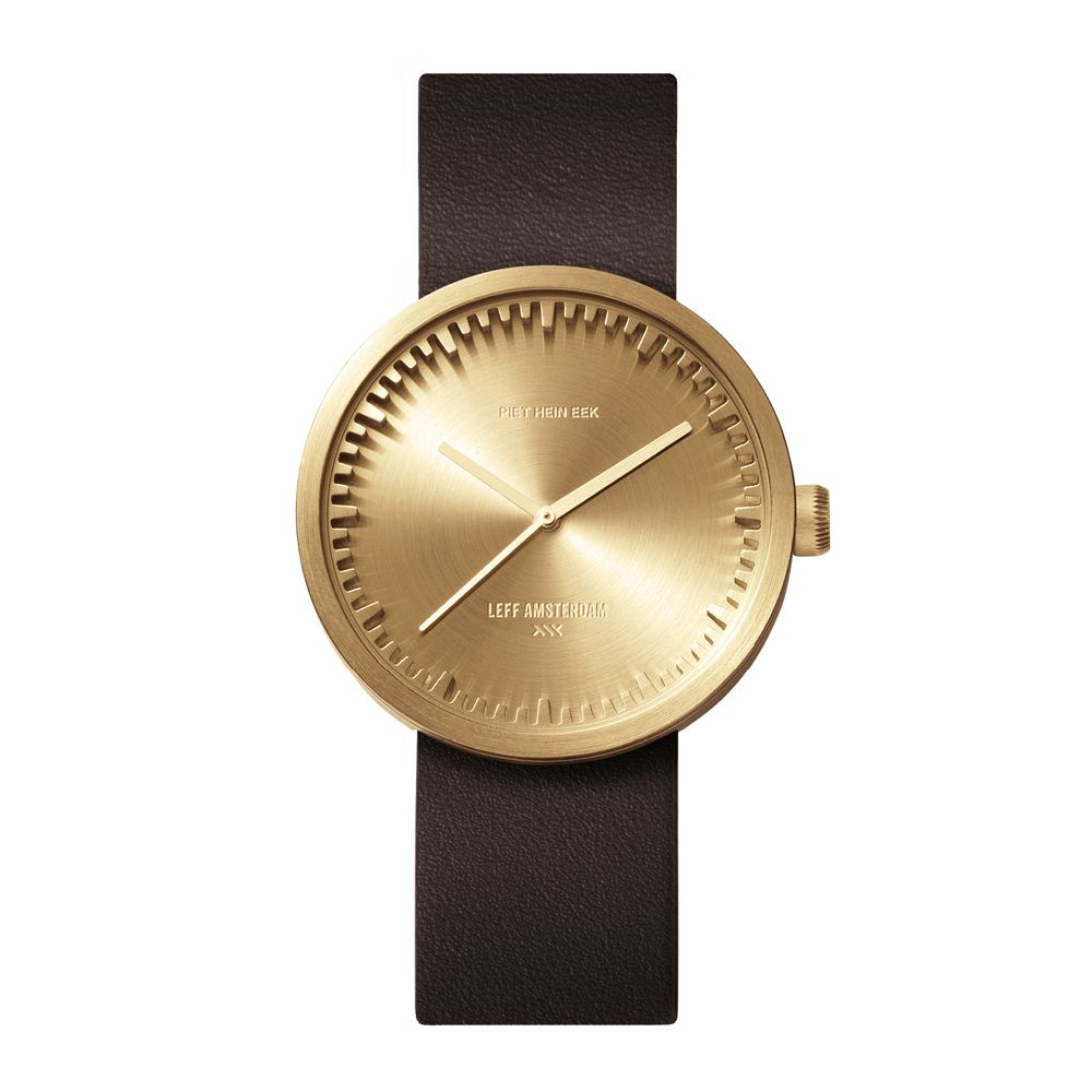 D38 brass case brown leather strap tube watch leff amsterdam design by piet hein eek front 1