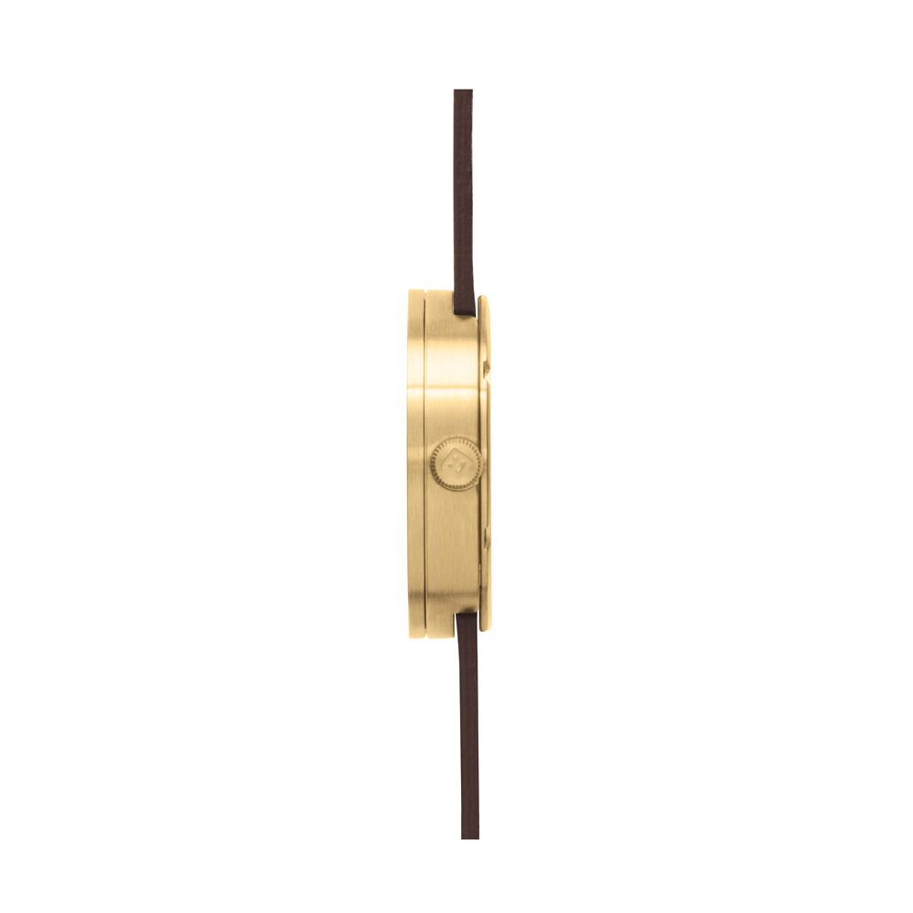 D38 brass case brown leather strap tube watch leff amsterdam design by piet hein eek side 1