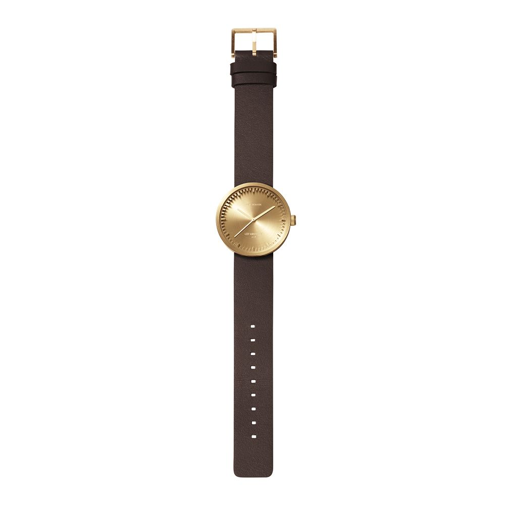 D38 brass case brown leather strap tube watch leff amsterdam design by piet hein eek total 1