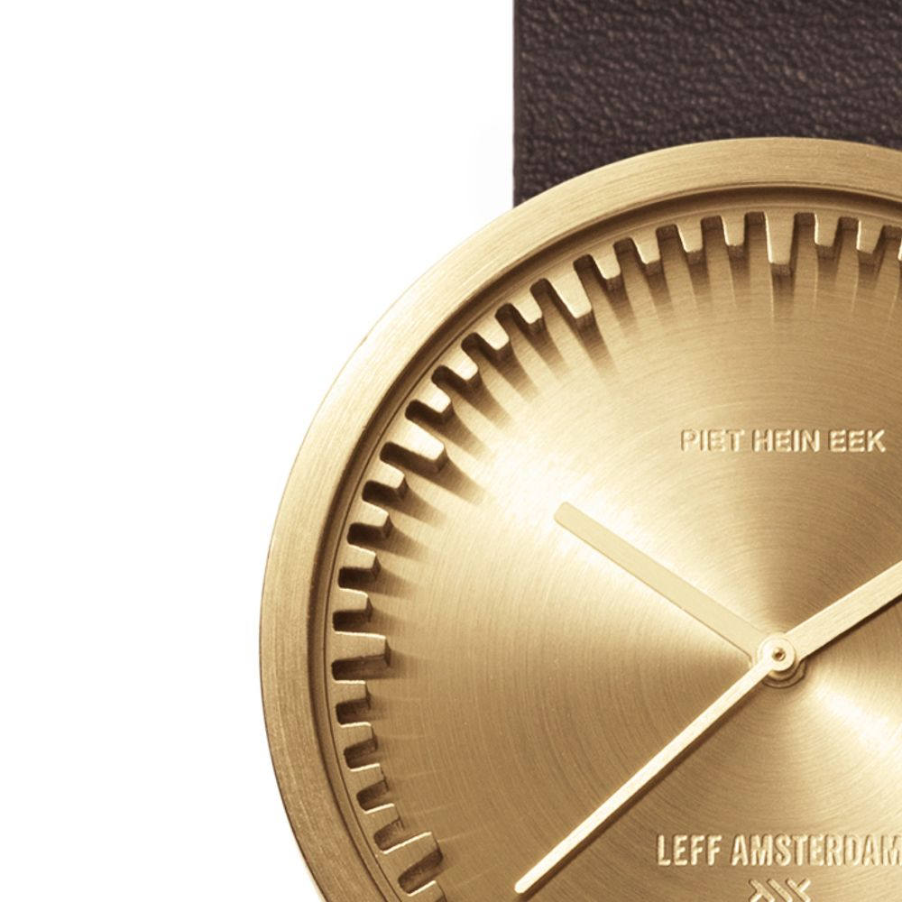 D38 brass case brown leather strap tube watch leff amsterdam design by piet hein eek zoom