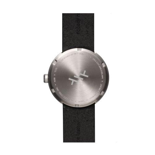 D38 steel case black leather strap tube watch leff amsterdam design by piet hein eek back 1
