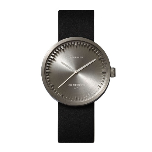 D38 steel case black leather strap tube watch leff amsterdam design by piet hein eek front 1