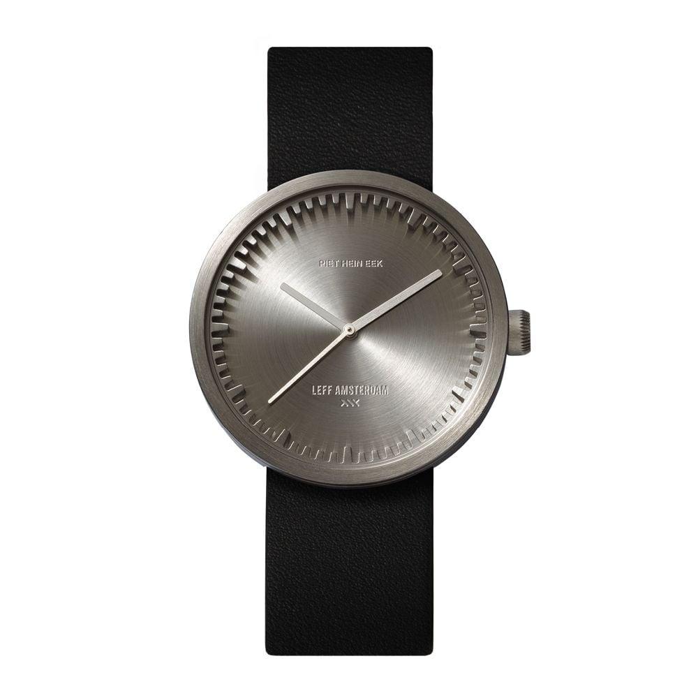 D38 steel case black leather strap tube watch leff amsterdam design by piet hein eek front 1