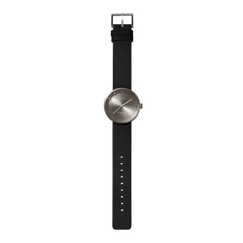D38 steel case black leather strap tube watch leff amsterdam design by piet hein eek total 1
