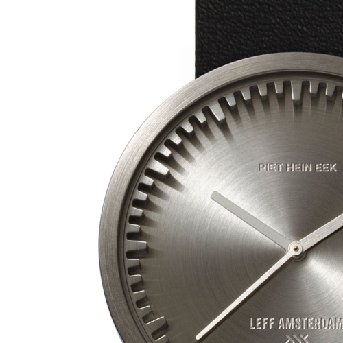 D38 steel case black leather strap tube watch leff amsterdam design by piet hein eek zoom