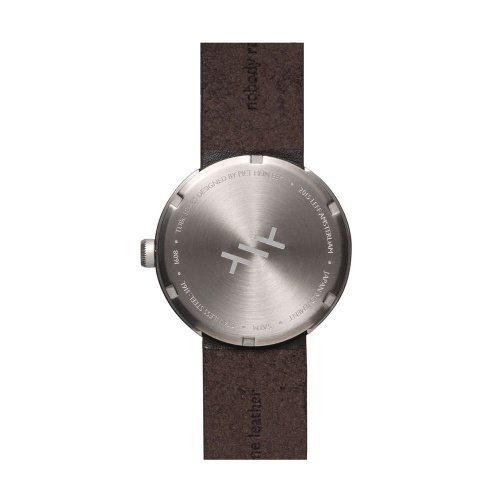 D38 steel case brown leather strap tube watch leff amsterdam design by piet hein eek back 1