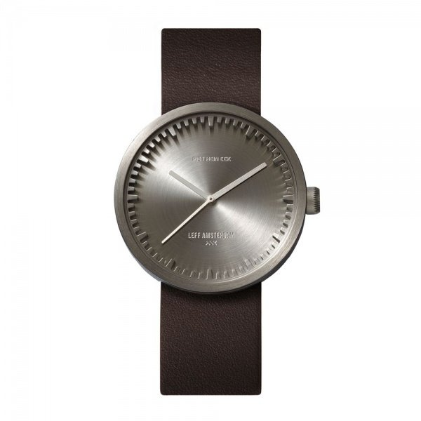 D38 steel case brown leather strap tube watch leff amsterdam design by piet hein eek front 1