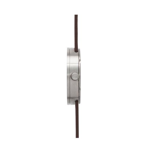 D38 steel case brown leather strap tube watch leff amsterdam design by piet hein eek side 1