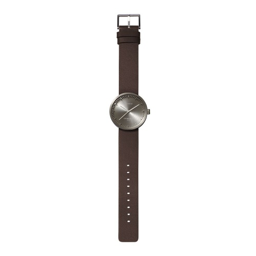 D38 steel case brown leather strap tube watch leff amsterdam design by piet hein eek total 1