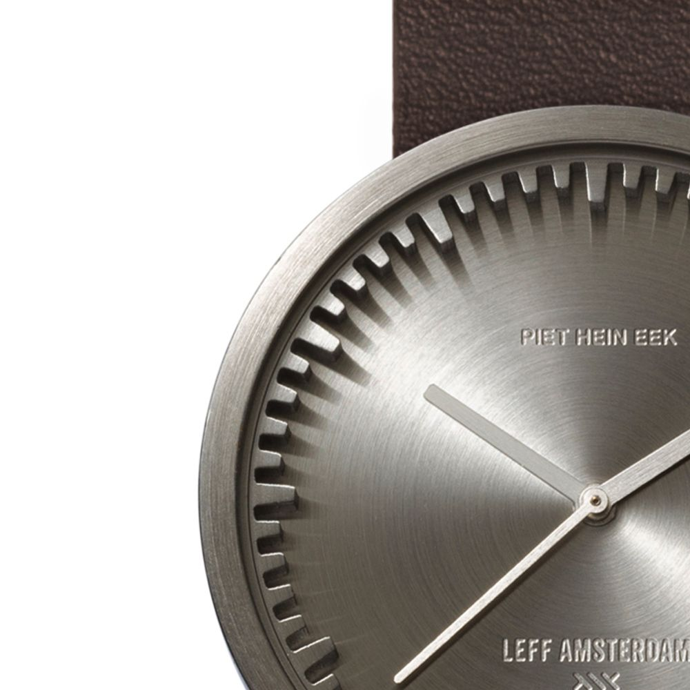 D38 steel case brown leather strap tube watch leff amsterdam design by piet hein eek zoom