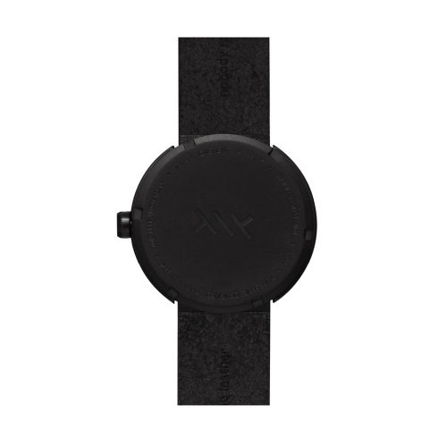 D42 black case black leather strap tube watch leff amsterdam design by piet hein eek back 1