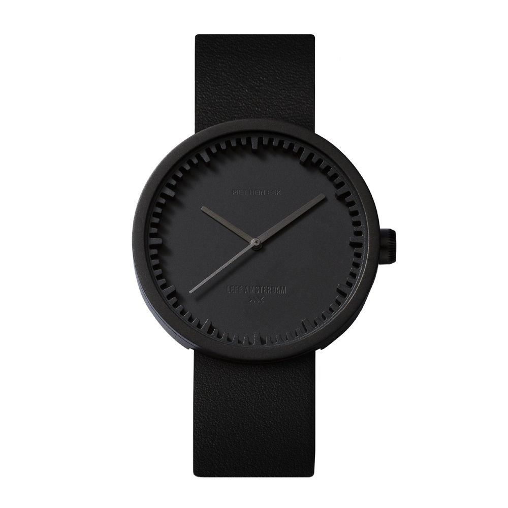 D42 black case black leather strap tube watch leff amsterdam design by piet hein eek front 1