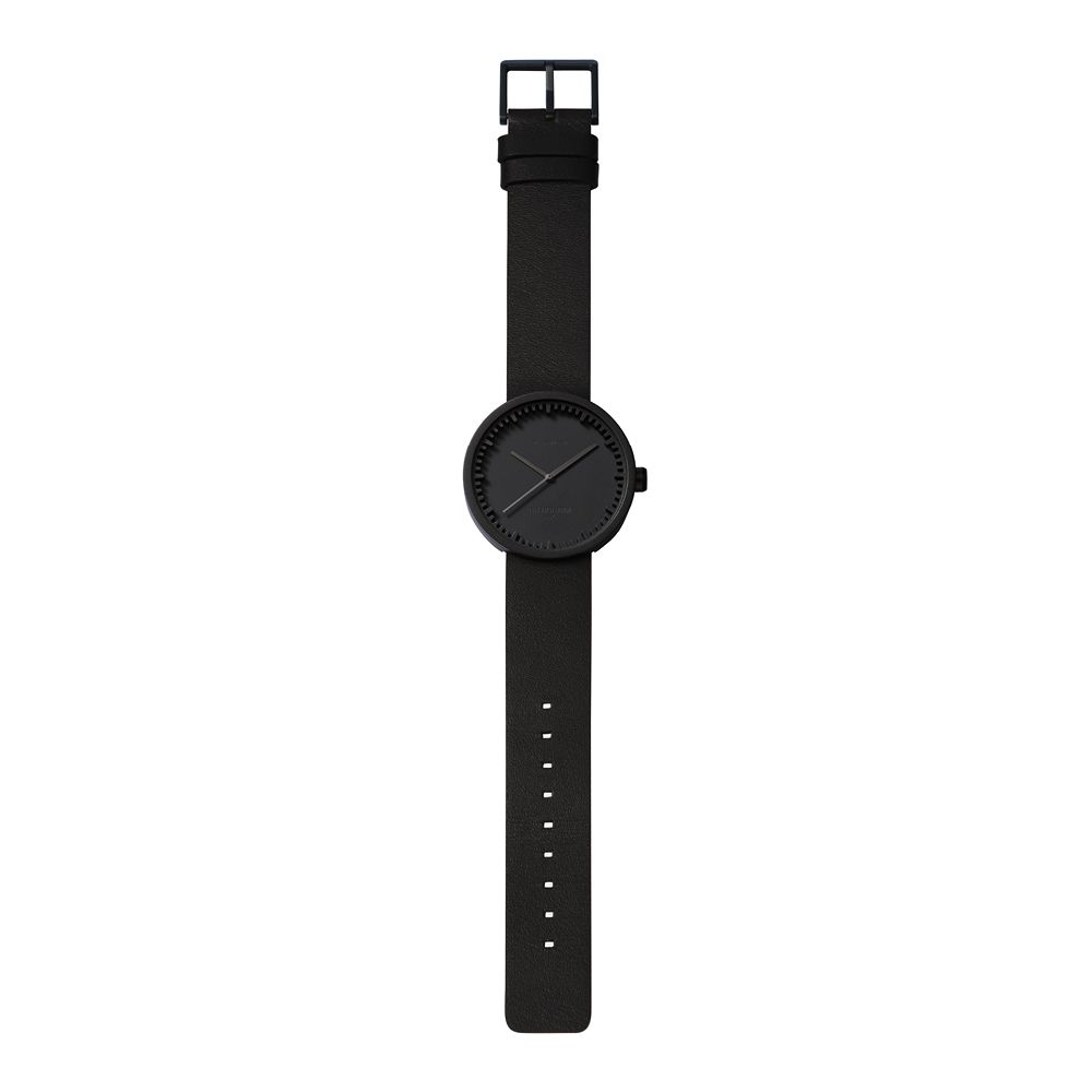 D42 black case black leather strap tube watch leff amsterdam design by piet hein eek total 1