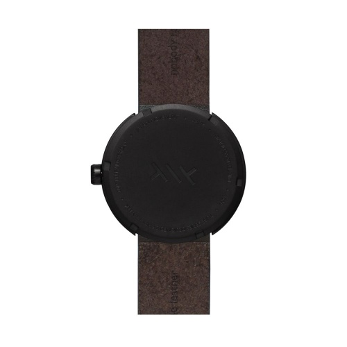 D42 black case brown leather strap tube watch leff amsterdam design by piet hein eek back 1 1