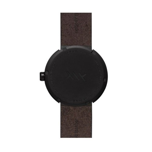 D42 black case brown leather strap tube watch leff amsterdam design by piet hein eek back 1 1