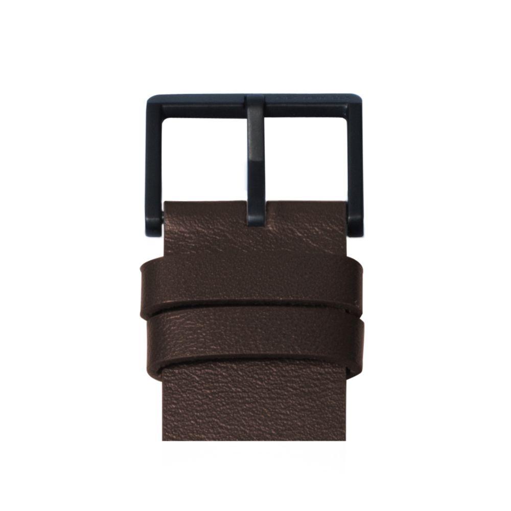 D42 black case brown leather strap tube watch leff amsterdam design by piet hein eek detail