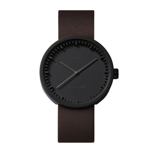 D42 black case brown leather strap tube watch leff amsterdam design by piet hein eek front 1