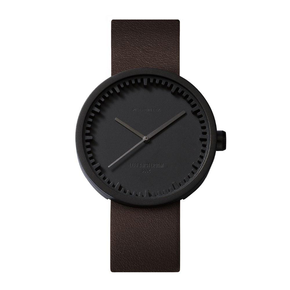 D42 black case brown leather strap tube watch leff amsterdam design by piet hein eek front 1