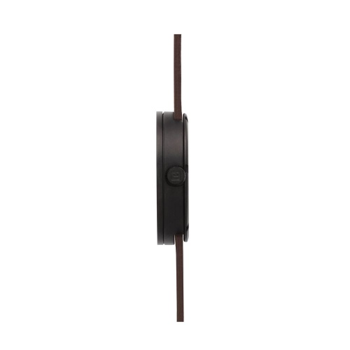 D42 black case brown leather strap tube watch leff amsterdam design by piet hein eek side