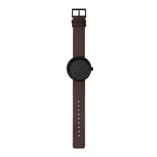 D42 black case brown leather strap tube watch leff amsterdam design by piet hein eek total 1