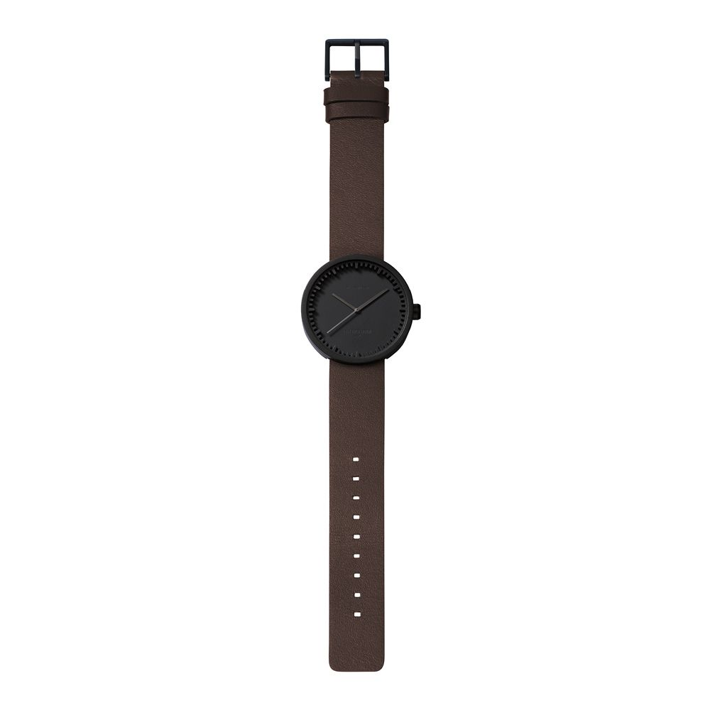 D42 black case brown leather strap tube watch leff amsterdam design by piet hein eek total 1