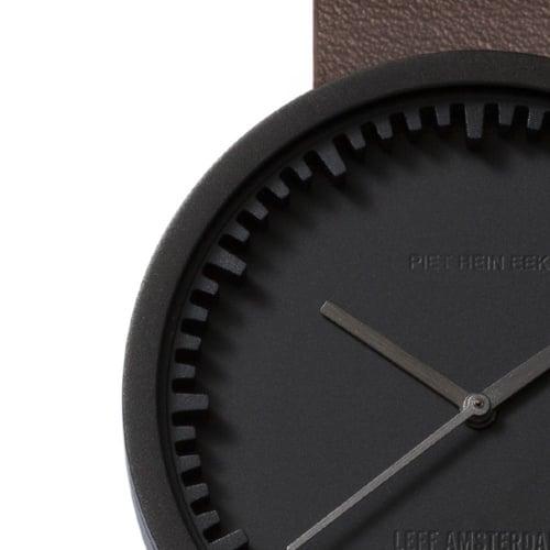 D42 black case brown leather strap tube watch leff amsterdam design by piet hein eek zoom