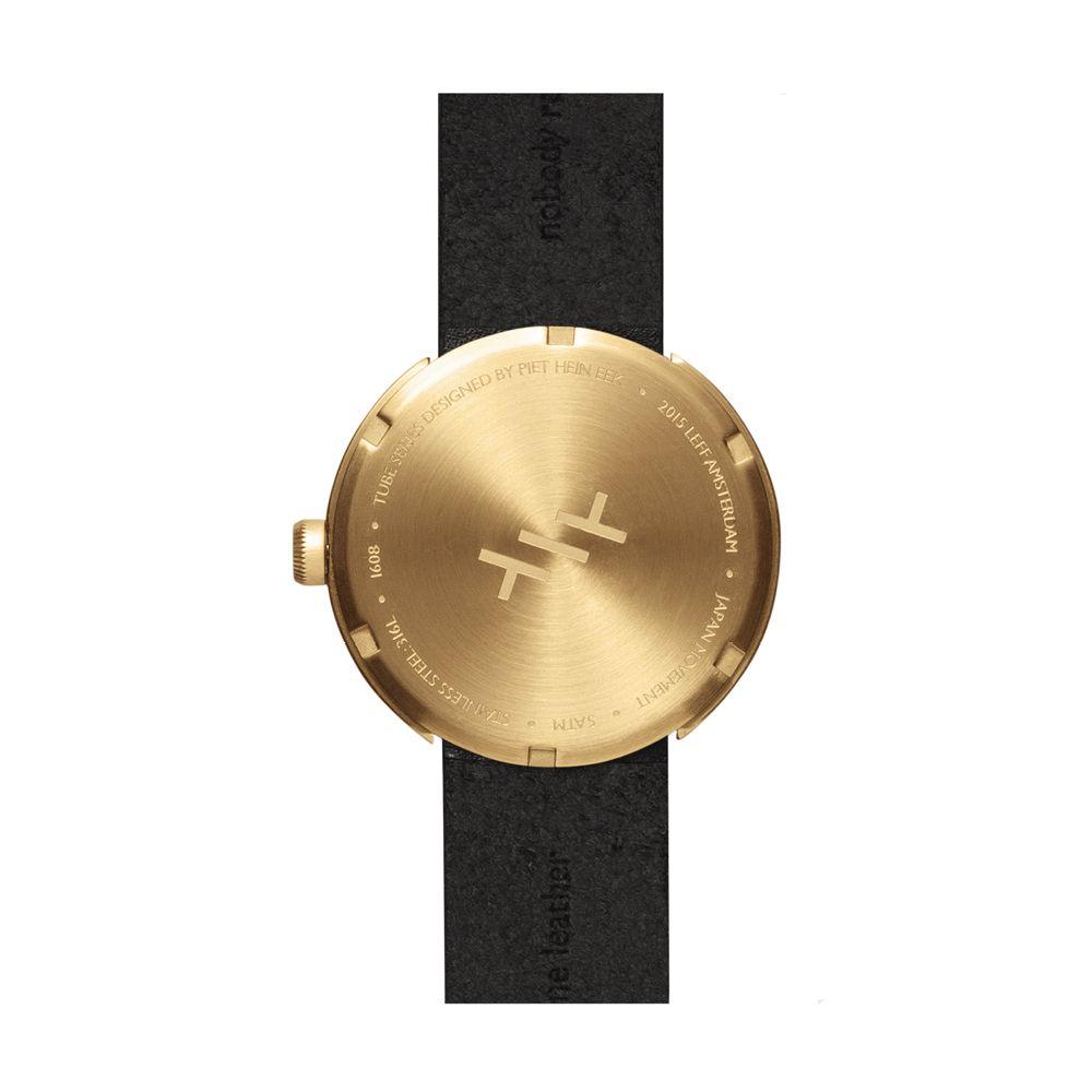 D42 brass case black leather strap tube watch leff amsterdam design by piet hein eek back 1