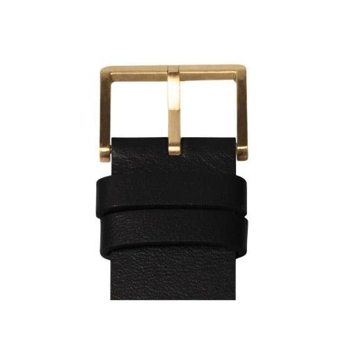 D42 brass case black leather strap tube watch leff amsterdam design by piet hein eek detail
