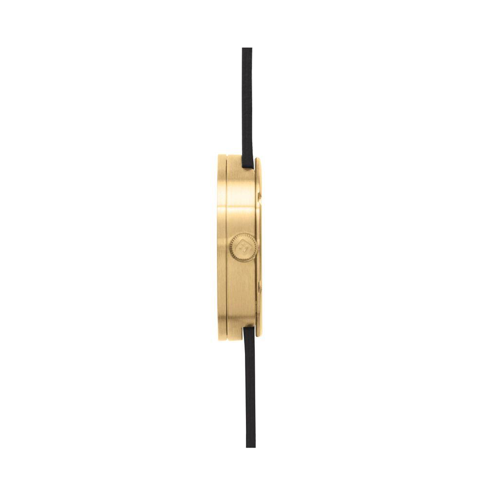 D42 brass case black leather strap tube watch leff amsterdam design by piet hein eek side
