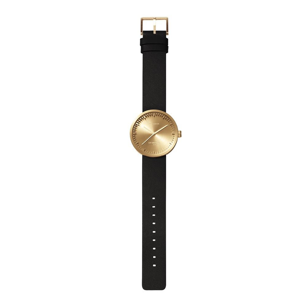 D42 brass case black leather strap tube watch leff amsterdam design by piet hein eek total 1