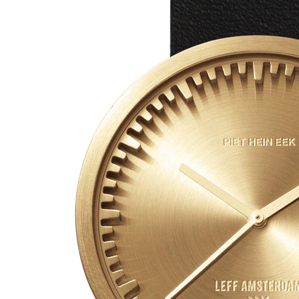 D42 brass case black leather strap tube watch leff amsterdam design by piet hein eek zoom