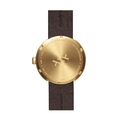 D42 brass case brown leather strap tube watch leff amsterdam design by piet hein eek back 1