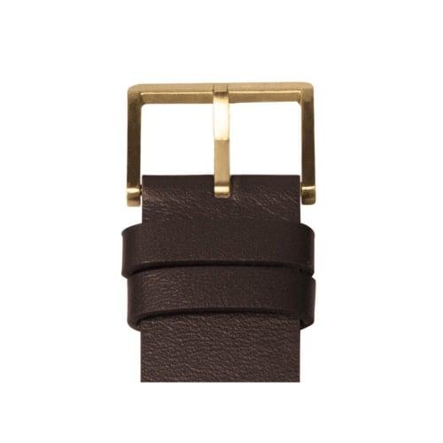 D42 brass case brown leather strap tube watch leff amsterdam design by piet hein eek detail