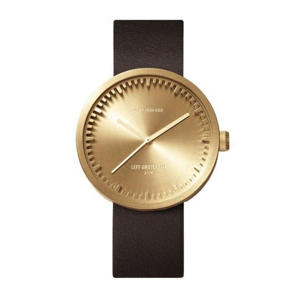 D42 brass case brown leather strap tube watch leff amsterdam design by piet hein eek front 1
