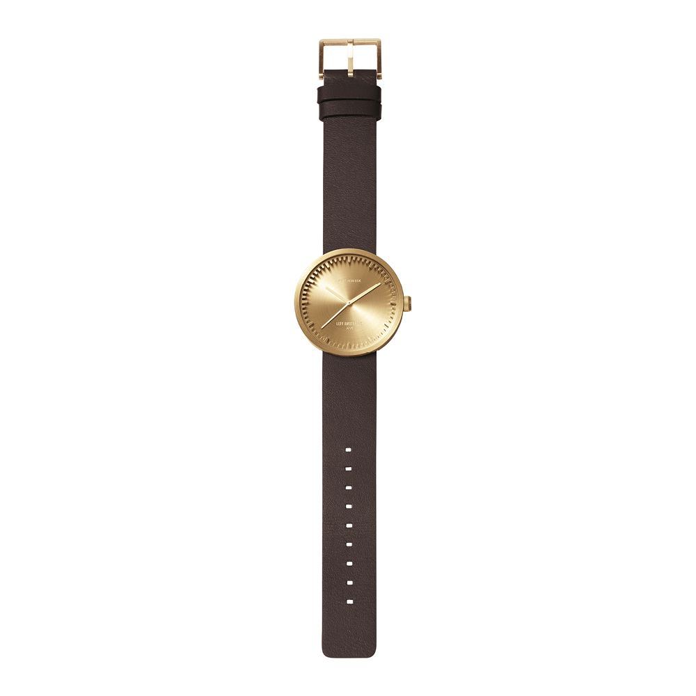 D42 brass case brown leather strap tube watch leff amsterdam design by piet hein eek total 1